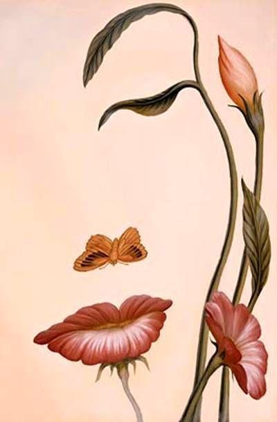 Doble Gestalt: Vemos unas flores y una mariposa, pero por otra parte vemos el perfil de una mujer.