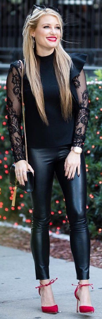 #winter #fashion /  Black Tulle Top / Black Leather Leggings / Red Pumps