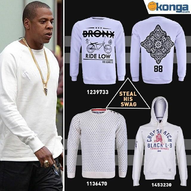 @Regrann from @kongafashion: If stealing is a crime, you won't mind being hunted for stealing Jay Z's swag would you?  Shop his swag; choose from our unique white sweatshirts on konga.com.