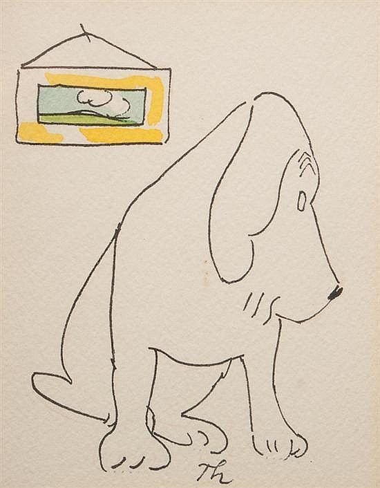 James Thurber, American, 1894-1961, Sitting Dog, pen and ink / unpub / invaluable