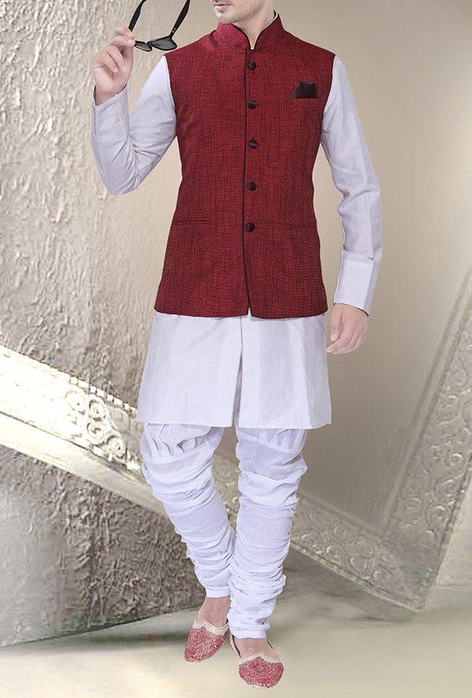 Maroon Jute Linen Readymade Nehru Jacket