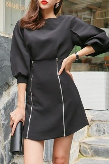Renia Zipper Dress Korean Fashion Kooding Korea