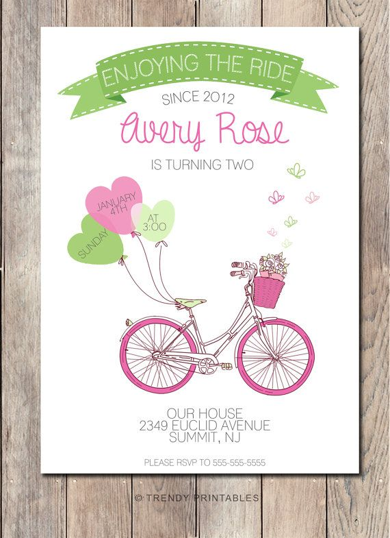Repin this invite and take 15% off your order at TRENDY PRINTABLES by using coupon code THX4PINNING! https://www.etsy.com/listing/211503170/bicycle-birthday-party-invitation-girl
