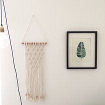 NEW Macrame Wall Hanging. Hung from a copper pipe and with wood bead details. ➰ 20cm (w) x 40cm (l)