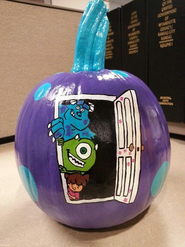 Monsters inc painted pumpkin mike wazowski sully boo for Boo pumpkin ideas