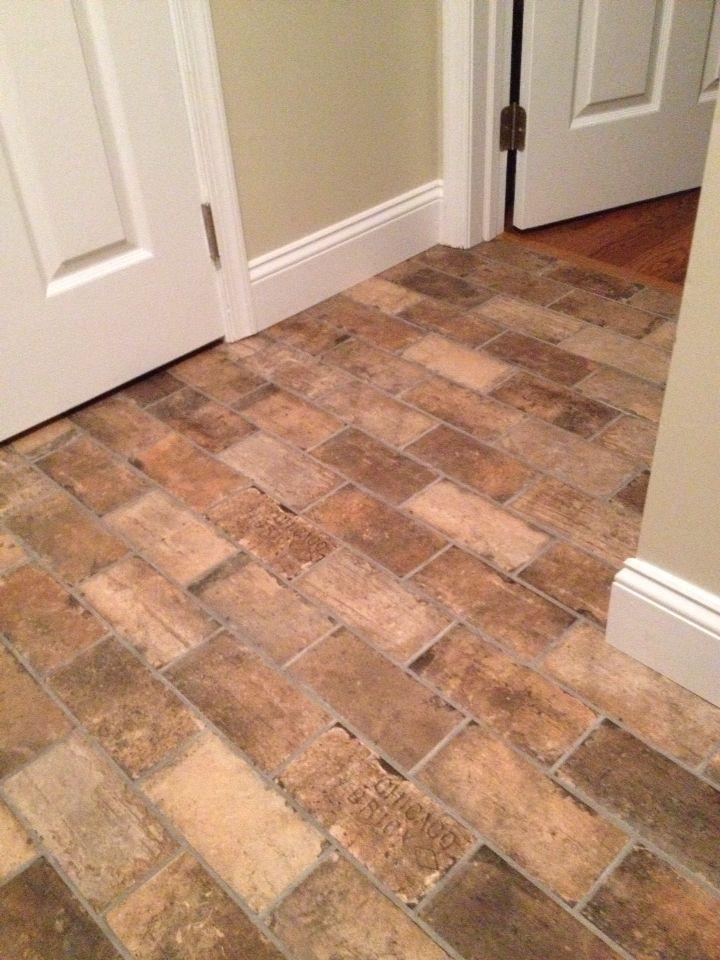 8 best brick tiles images on pinterest brick tiles for Brick kitchen floor ideas