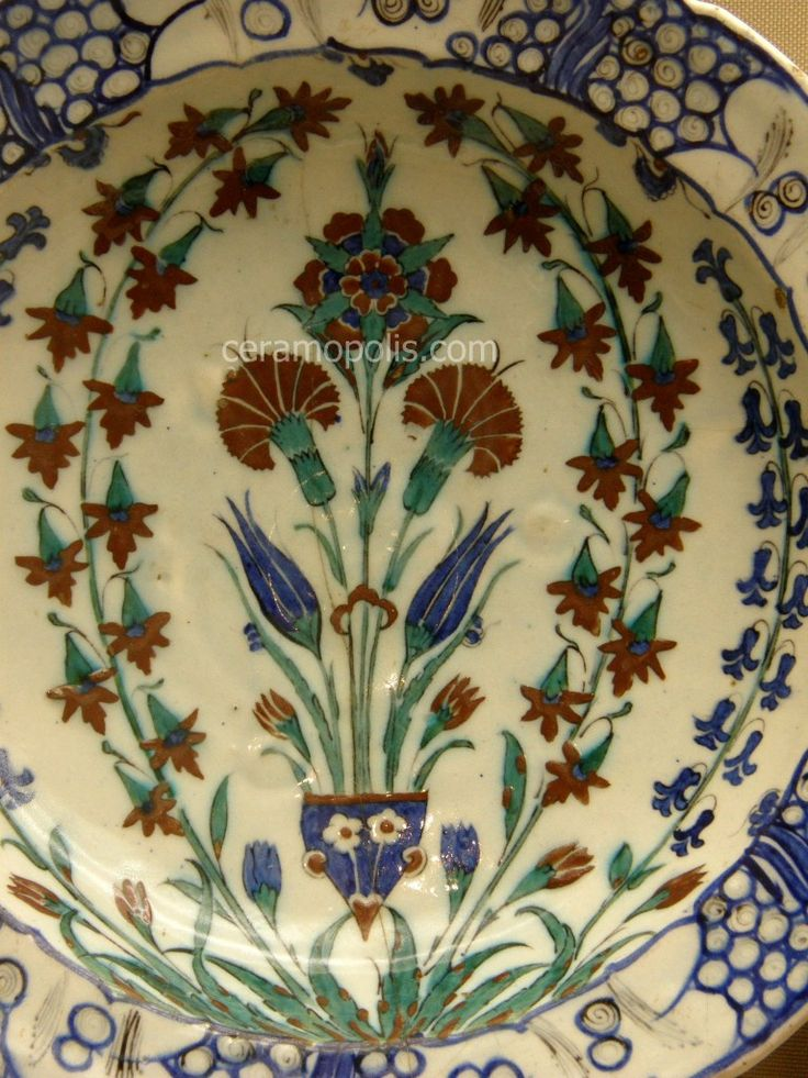 Iznik Plate – Carnations & Tulips Iznik 16th – Benaki Islamic Museum Athens Greece