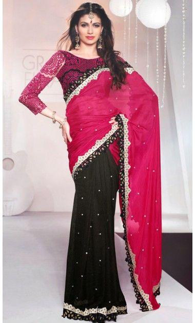 Dazzling Diva Black and Fuchsia Embroidered Saree #Sarees-Clothing #SareesShop-Online