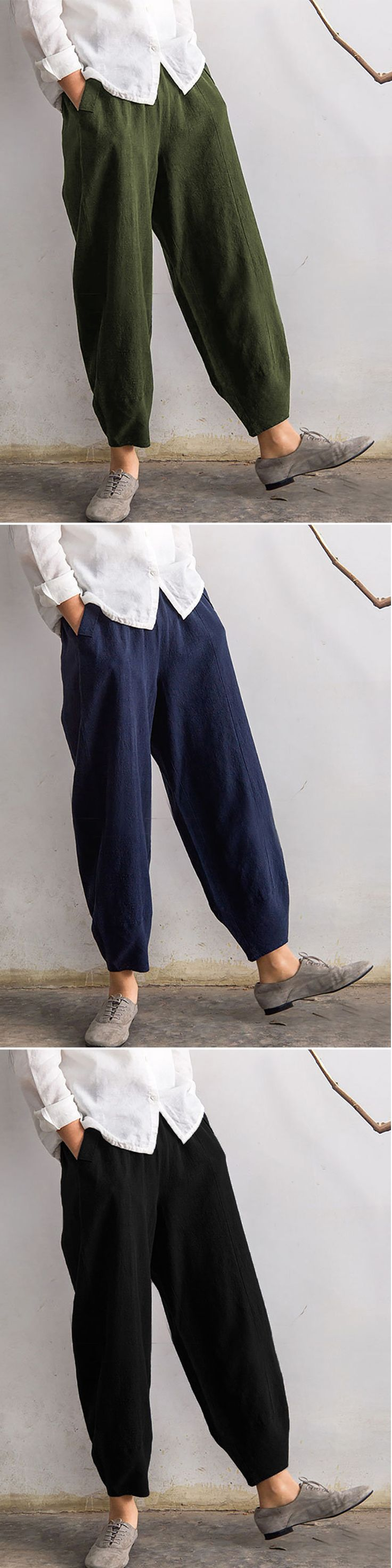 O-NEWE Vintage Elastic Waist Pure Color Pocket Pants For Women
