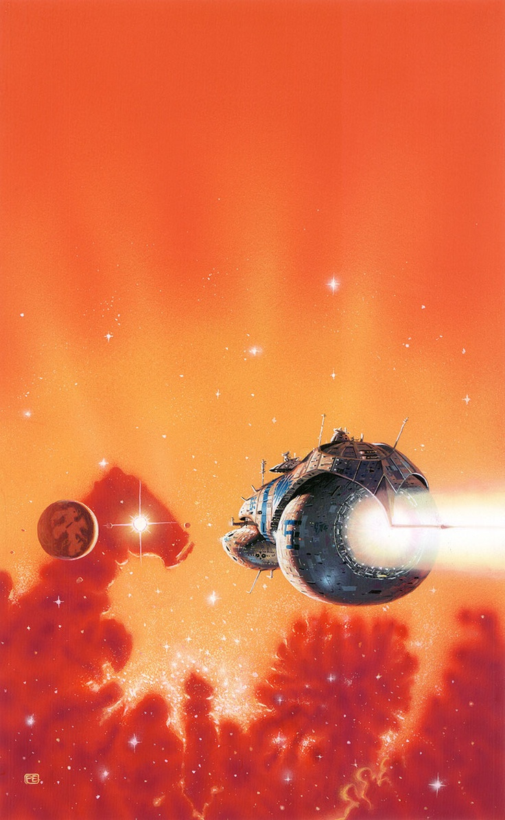 Love this one--the orange emptiness at the top and the whole gradient effect and the sparkly stars and the fat round ass of that ship lol! --Pia (Peter Elson)