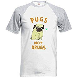 Pugs Not Drugs High Weed Novelty Sports Grey/White Men Women Unisex Short Sleeve Baseball T Shirt-L
