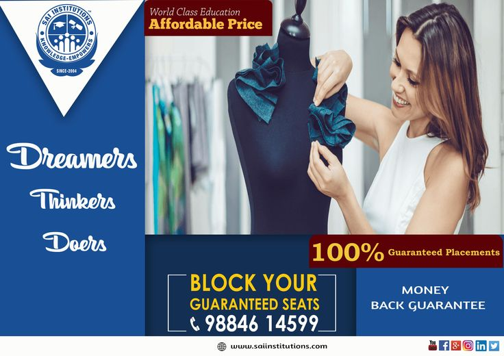 Sai international institute is the best fashion technology institute in Chennai. Being the leading firm in the industry, we offer well-planned array of Fashion Technology Course that are planned as per the latest fashion standards prevailing in the industry. Our course ensure to understand the minute details of the fashion industry, thereby making it the best solution for the fashion icons.  For admission - 9884614599