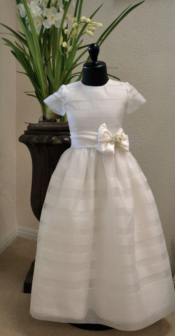 Flower Girl Dress, First Communion Dress, Confirmation Dresses - White, Girls Size 8, Girls Size 10 via Etsy
