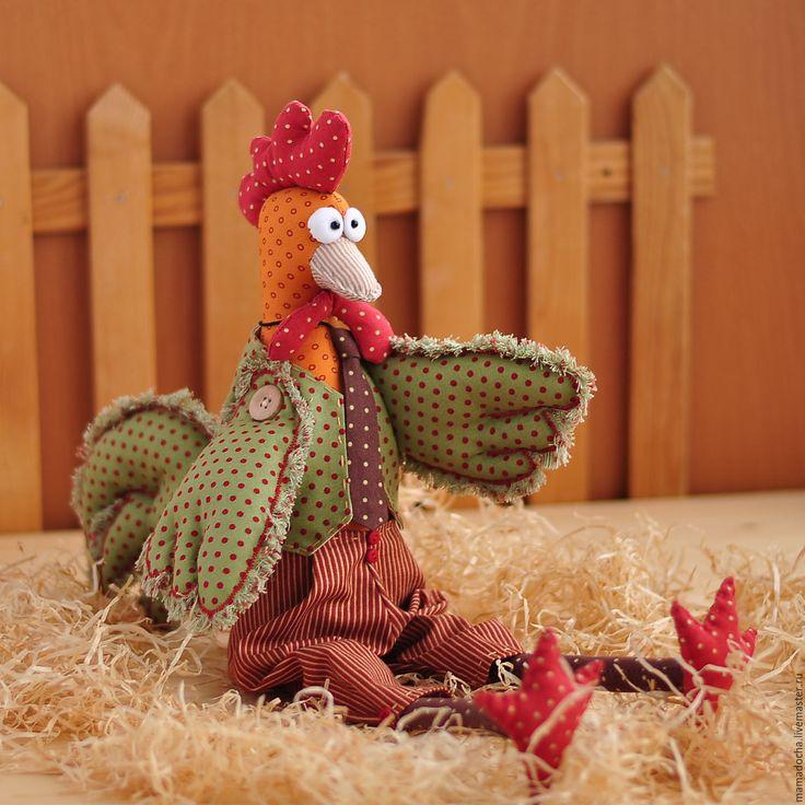 Купить Петяй - комбинированный, красный, рыжий, деревенька, сельский стиль, петух, символ 2017 года
