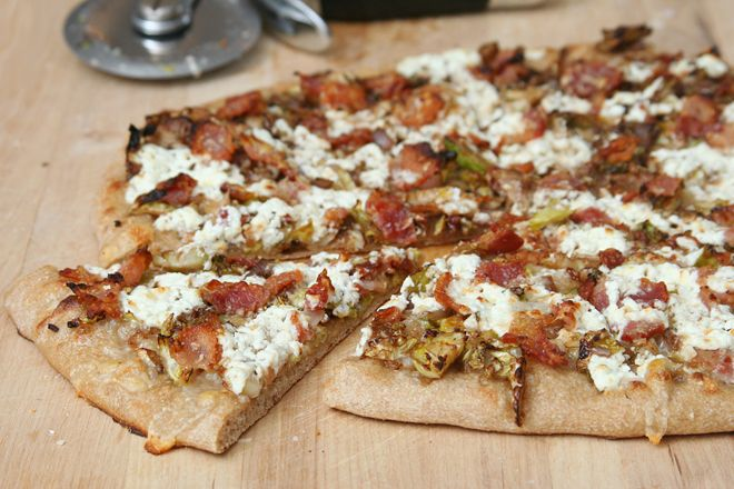 pizza with brussels sprouts, bacon, and goat cheese