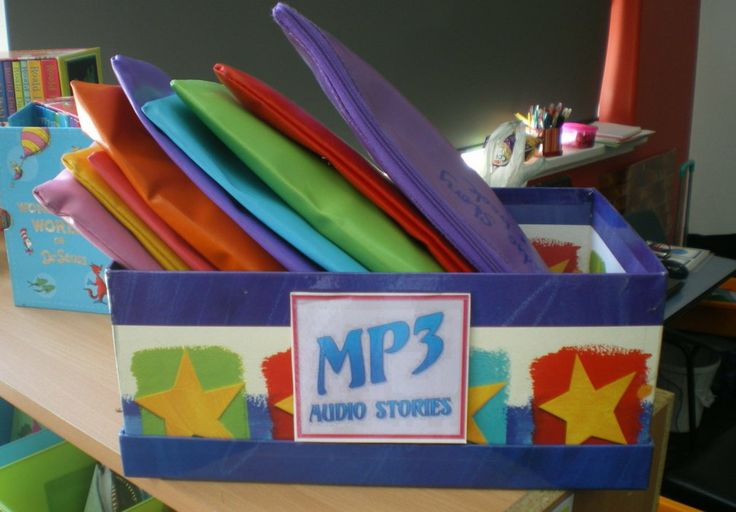 Roald Dahl, Kym Lardner, Andy Griffiths, CS Lewis audio stories - we keep the novels in with the Mp3 players in these pencil cases. Very popular!