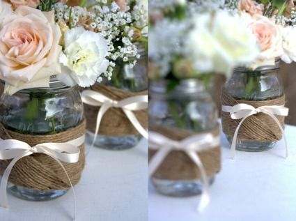 The Mason Jars are so cute even with a formal touch.: Masons, Wedding Ideas, Bridal Shower, Centerpieces, Mason Jars, Center Piece, Flower