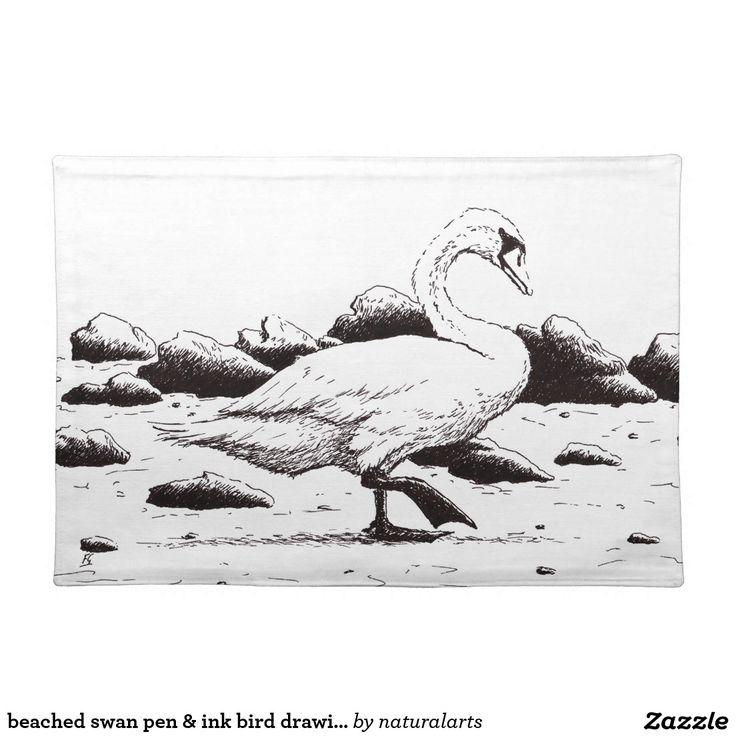 beached swan pen & ink bird drawing cloth place mat