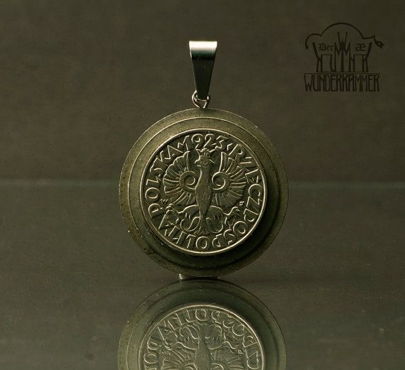 Industrial inspired, retro styled coin pendant