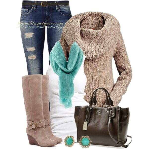 """""""Coach Tote & Cowl Neck Sweater"""" by casuality on Polyvore"""