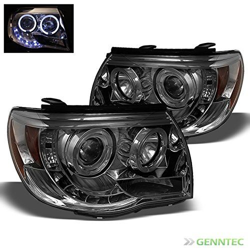 Smoked 2005-2011 Toyota Tacoma Halo LED Projector Headlights Smoke Head Lights Pair Left+Right 2006 2007 2008 2009 2010