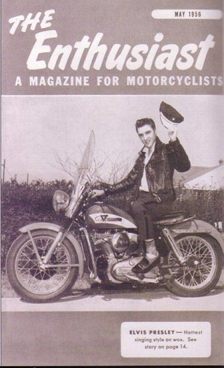 May 1956 cover of The Enthusiast, a Harley-Davidson publication  Photo © Harley-Davidson  The K series were introduced in 1952 with a side valve 45 cubic inch motor.  The 56 Model KH was a