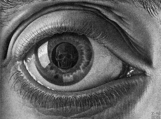 Dit werk spreekt mij aan doordat het een oog weerspiegelt met een schedel er in. Mijn kunstproject van havo5 heeft te maken dat je je eigen oog ziet in een ander wezen en dat met behulp van een spiegel. Daarom inspireert dit werk mij voor mijn eigen idee. | M.C. Escher