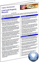 Legacy QuickGuide™: Land and Property Records - PDF Edition.  Just getting started with property records or are you a frequent user and you need some help? The Land and Property Records Legacy QuickGuide™ contains useful information including tips on getting started in land records, where to search for records, how to map property, and how to see the property visually through various mapping options. #genealogy #ebooks
