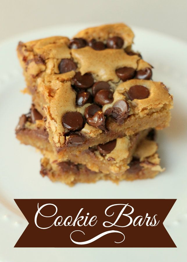 The BEST chocolate chip Cookie Bars Ever!! These pan chewies melt right