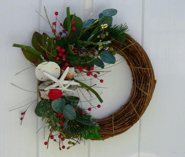 Beach Christmas-Beach Christmas Wreath-Beachy Wreath-Beach Holiday Decor-Annie Gray Design-Grapevine Xmas Wreath-Shells-Starfish-Sand Dollar by BeachyWreaths on Etsy https://www.etsy.com/listing/203522107/beach-christmas-beach-christmas-wreath