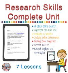 Research Skills are critical for today's students. This complete 7 lesson unit will teach your upper elementary or middle school students everything they need to be successful online researchers. $
