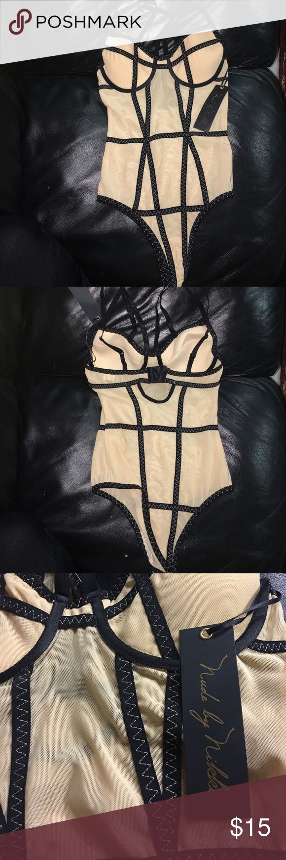 NWT Nude By Nikki Bodysuit Nude strappy bodysuit with mesh and black criss cross trim Nude By Nikki  Tops