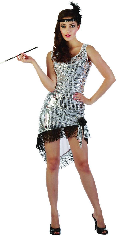 Disfraz de charlestón sexy plateado: Este disfraz de charlestón para mujer está compuesto por un vestido plateado y una cinta (porta cigarros y zapatos no incluidos). El vestido con lentejuelas por delante es de color...