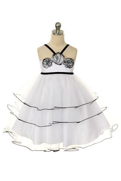 Sweet Kids White Black Fuchsia Tulle Tiered Flower Christmas Girl Dress 6M-12