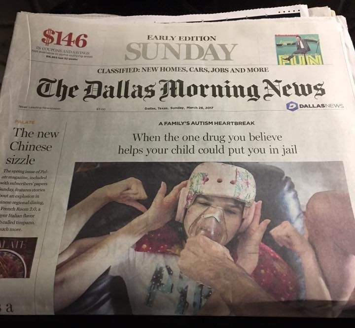 A 17-year-old girl made the front page of the Dallas Morning News for her story about how marijuana stops her from beating herself into a bloody mess, and now copies of that edition are being delivered to state lawmakers in Austin. Kara Zartler can be seen in the article