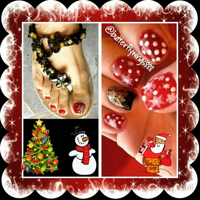 Nail Art #Christmas  #white #red