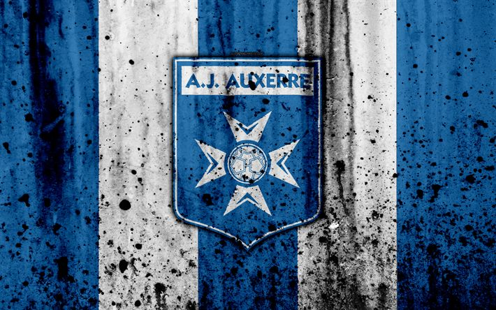 Download wallpapers FC Auxerre, 4k, logo, Ligue 2, stone texture, France, AJ Auxerre, grunge, soccer, football club, Liga 2, Auxerre FC