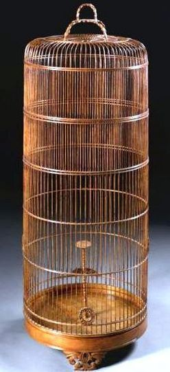 "Bamboo… decorative accessories, China, A Chinese bamboo large bird cage, 20th century. [OK, not ""wood"" but. . . . ]"