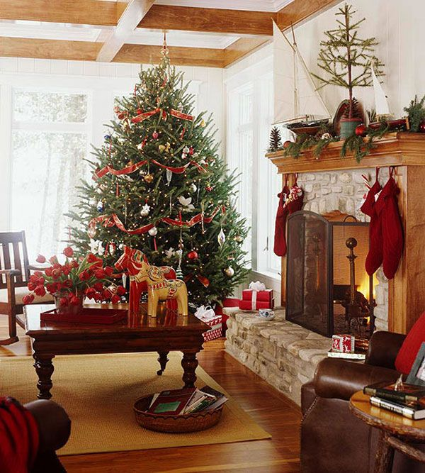 Beautiful Living Rooms Christmas Decoration Ideas Wooden Beam Ceiling And Flooring Room Decorating With Red Ribbon