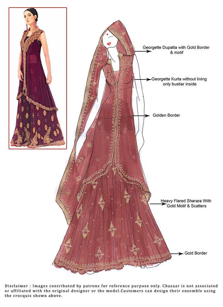 DIY Maroon Georgette Sharara Suit