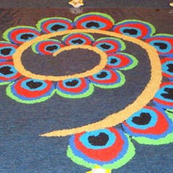 """""""Best Peacock Rangoli Designs Our Top 10"""" .... the designs are truly amazing & spectacular ranging from the abstract & symbolic to impressionistic & realistic ! And very colorful too :-D. Stylecraze.com"""
