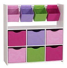 Mueble juguetero, cajas de colores