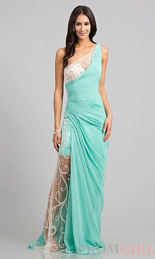 One Shoulder Dress by Shimmer at PromGirl.com i want this SO bad (in peach)