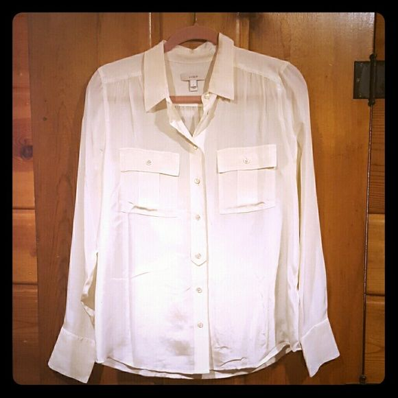J Crew White Silk Blouse 72