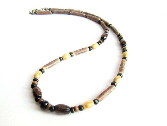 Mens coconut necklace men wooden necklace wood beaded