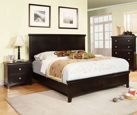 Modena Transitional Platform Bed (Brown Cherry & Espresso)