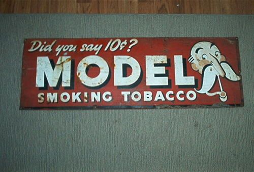 VINTAGE 10 CENT MODEL SMOKING TOBACCO TIN SIGN