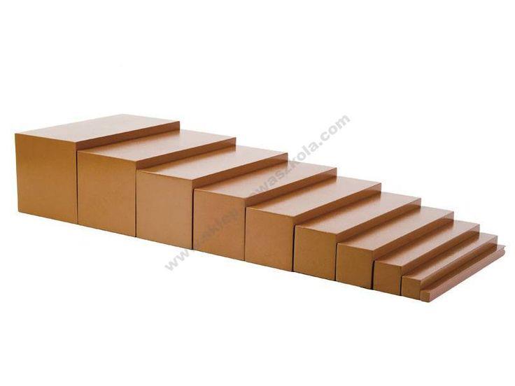 """Brązowe schody. To dziewięć drewnianych graniastosłupów. Każdy z nich ma długość 20 cm, różną grubość i wysokość - od 1 do 10 cm. Materiał pozwala dziecku doświadczać zmian wielkości przedmiotów w dwóch wymiarach. Dziecko przyswaja sobie pojęcia: """"gruby"""" i """"cienki"""", """"wysoki"""" i """"niski"""". Przyswaja pojecie proporcji oraz stopniowania np: """"gruby"""", """"grubszy"""", """"najgrubszy"""". Dziecko ćwiczy motorykę, koordynację wzrokowo-ruchową, W naturalny sposób przyswaja sobie, że w świecie panuje harmonia…"""