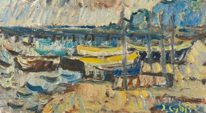 Obraz Jana Cybisa Łodzie rybackie na plaży z 1972 roku