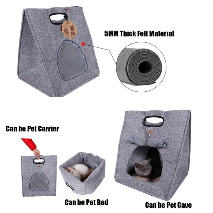 3 Em 1 Cama Do Cão Do Gato do animal de Estimação Gaiola Casa de Feltro bolsa de pano Bolsa Macia Mat Kennel Almofada Quente Interior Para Animais de Estimação transportadora